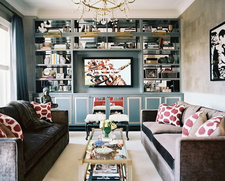 Sofas Facing Each Other Decor Built In Cabinets - Contemporary - Living Room - Lonny