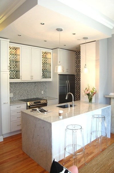 Back of KItchen Cabinets Lined with wallpaper - Contemporary - kitchen - Erin Gates Design