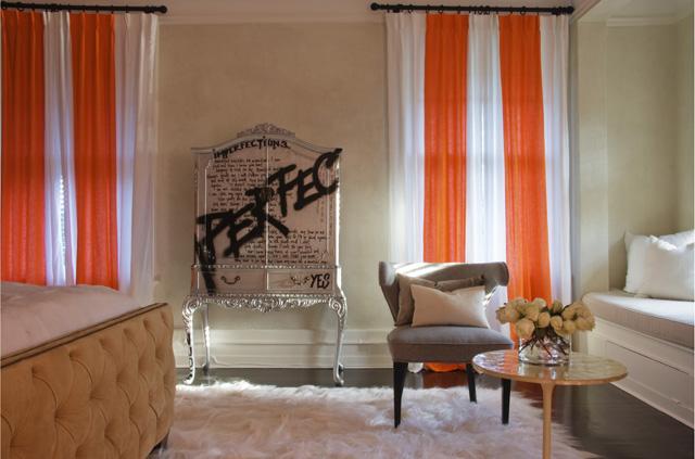 Black And Cream Damask Wallpaper Orange Curtains Design Ideas