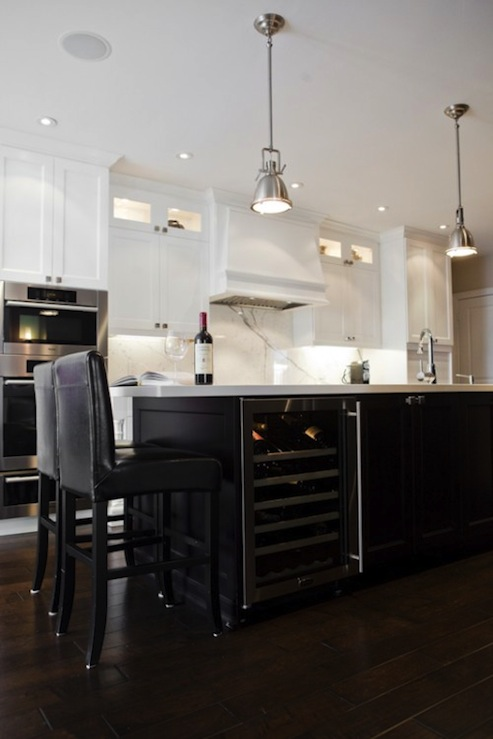 Black And White Marble Wallpaper Wine Fridge In Island Transitional Kitchen