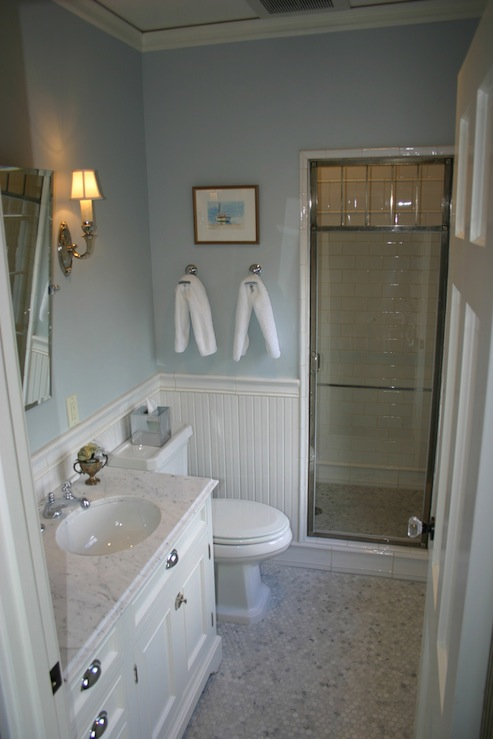 Beadboard Bathroom White Beadboard Bathroom - Cottage - Bathroom - Papyrus