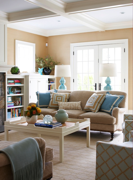 Brown and Turquoise Living Room
