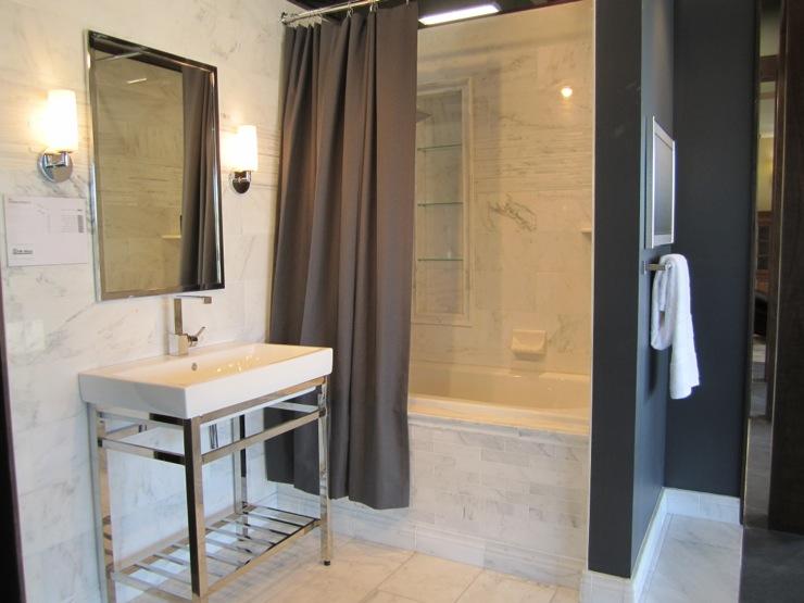 Black And White Wallpaper Decor Gray Shower Curtain Contemporary Bathroom Sherwin