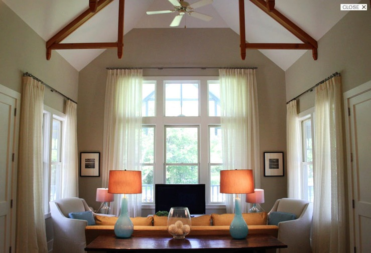 Turquoise Blue Lamps - Transitional - living room - Benjamin Moore - glass table lamps for living room