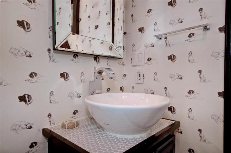Black Trellis Wallpaper Bathroom The Semi Designed Life