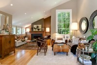 Living Room with Sloped Ceiling - Transitional - living ...