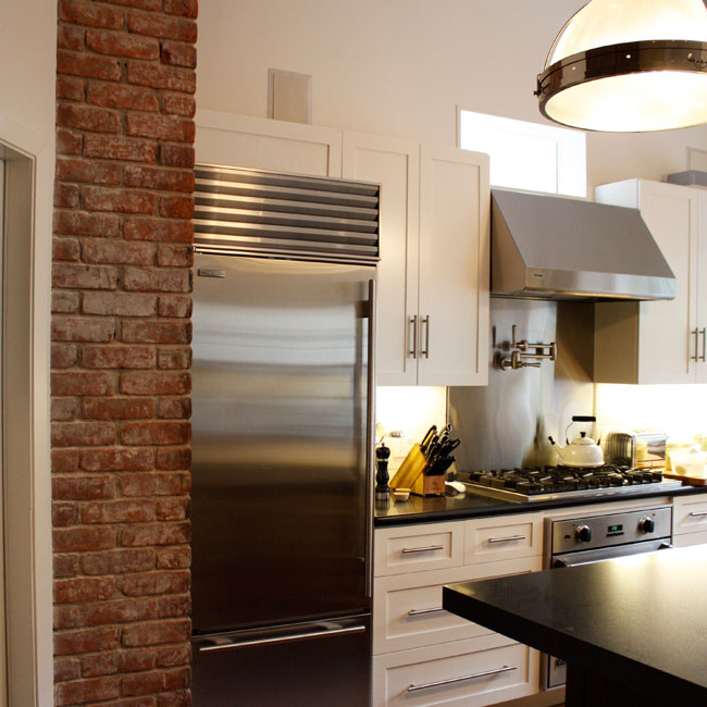 Pot Girl Wallpaper Kitchen With Exposed Brick Transitional Kitchen