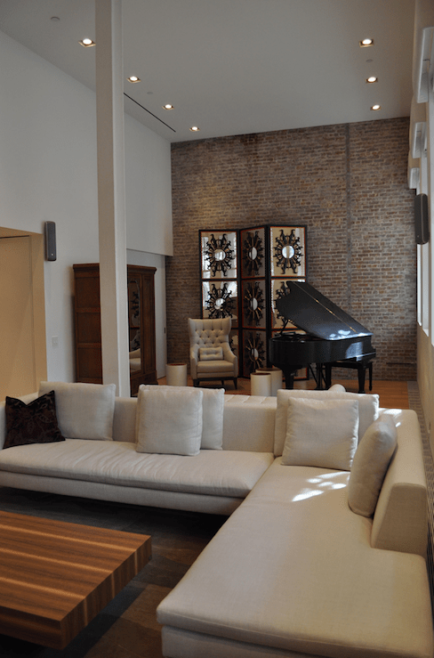 Clock Over Fireplace Exposed Brick Wall Design Ideas