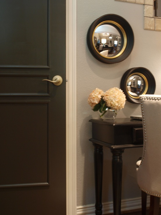 Black Keys Wallpaper Black Walls Transitional Entrance Foyer Benjamin