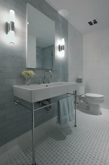 Subway Tile Bathroom Modern Washstand Design Ideas