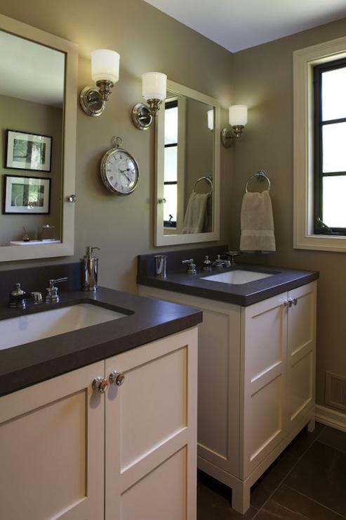 Black Beadboard Wallpaper Taupe Bathroom Contemporary Bathroom Artistic