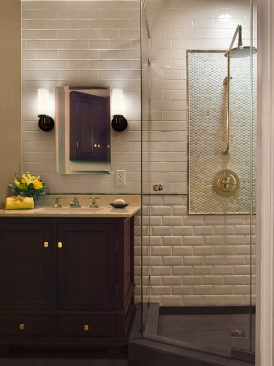 Wallpaper Of Girl Standing In Rain Beveled Subway Tile Transitional Bathroom
