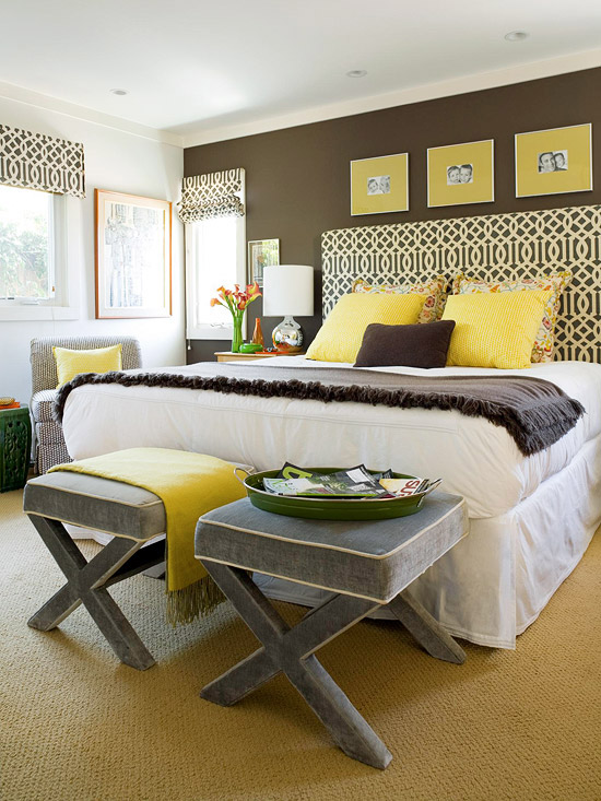 yellow and gray bedroom - contemporary grey