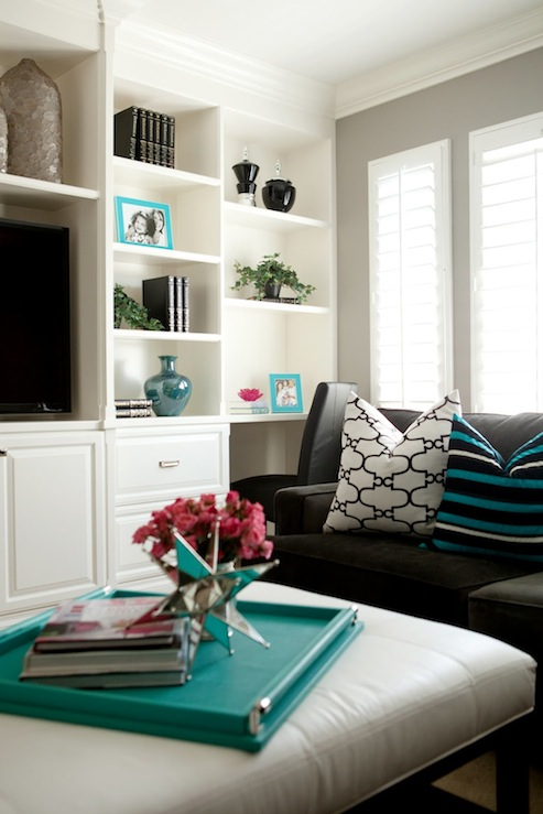 Gray and Turquoise Blue Living Rooms - Transitional - Living Room - grey and turquoise living room