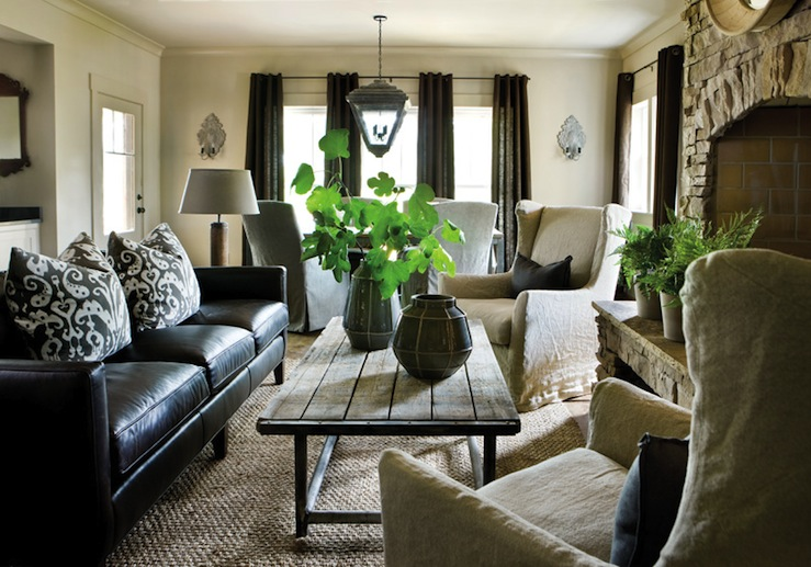 Industrial Coffee Table Transitional Living Room