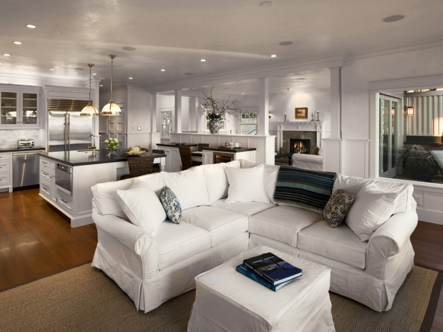 Tufted Sectional - Contemporary - living room - Candice Olson - white sectional living room