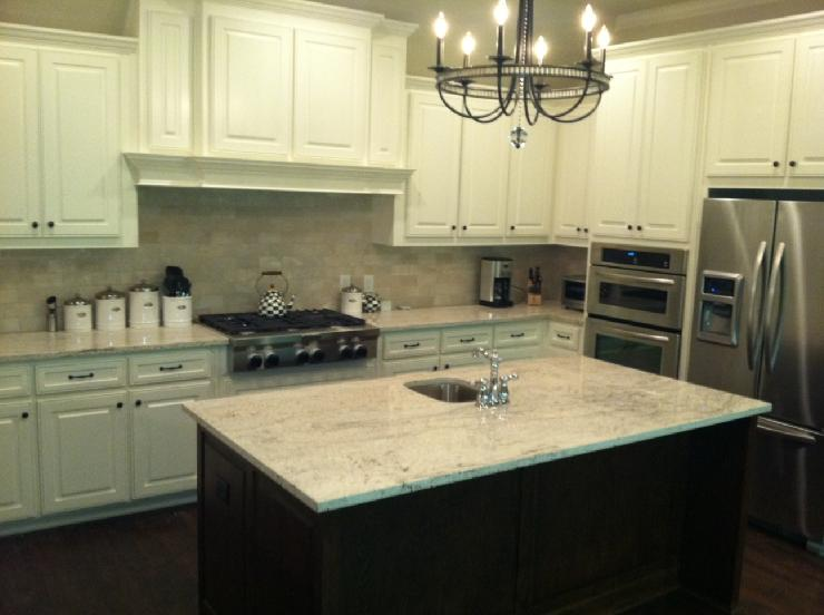 Kitchen Island Espresso River White Granite - Transitional - Kitchen - Sherwin