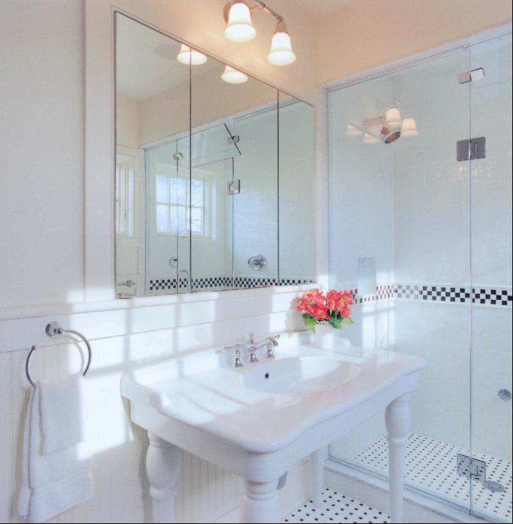 Black And White Wallpaper Decor Parisian Pedestal Sink Cottage Bathroom My Home Ideas