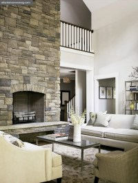 Two Story Fireplace - Country - living room - Atlanta ...