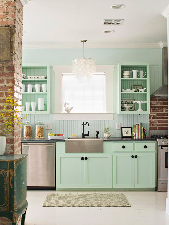 Vintage Green Kitchen Cabinets Mint Green Cabinets - Eclectic - Kitchen