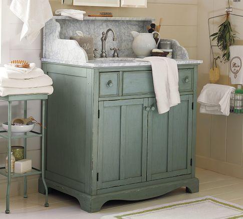 Lucca High Backsplash Single Sink Console Blue Pottery