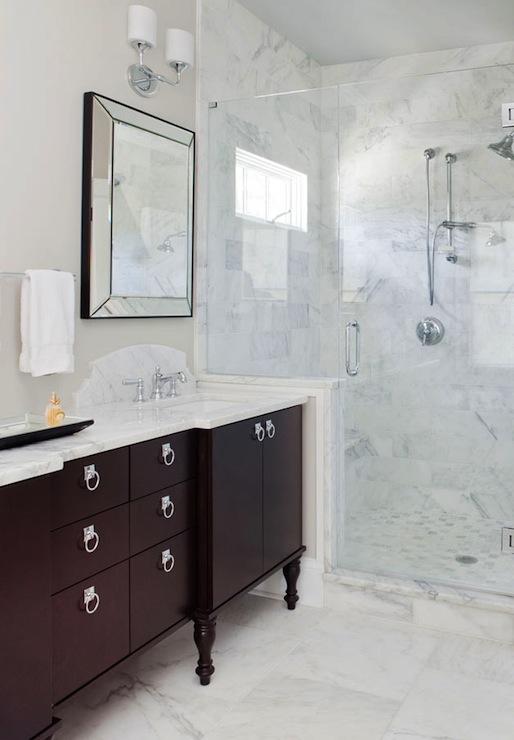 Black And Grey Wallpaper Espresso Vanity Transitional Bathroom Terracotta Studio