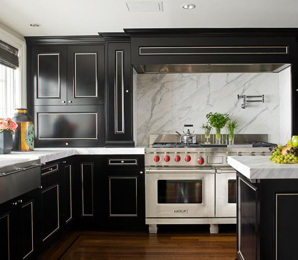 Kitchen Island Espresso Black And White Kitchen - Transitional - Kitchen