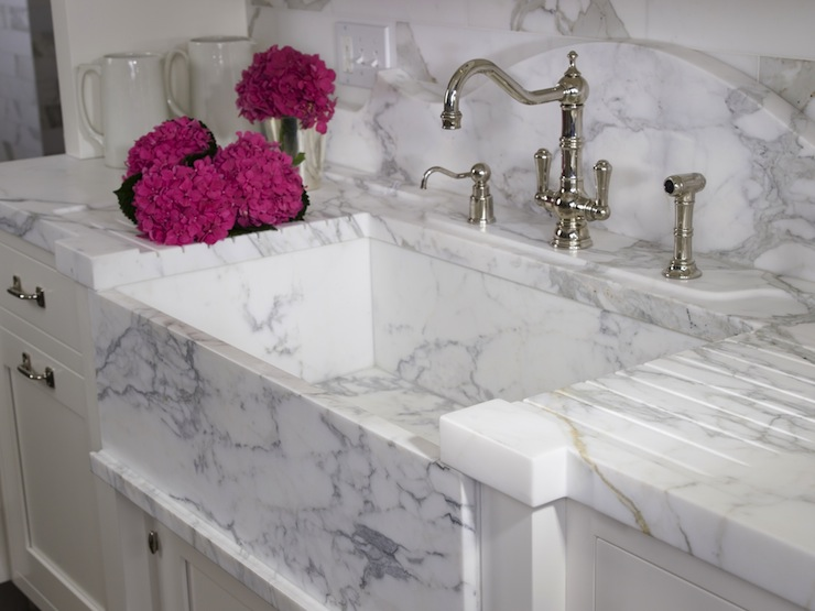 White Marble Sink Transitional Kitchen St Charles