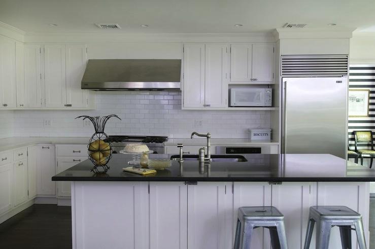 Black Beadboard Wallpaper Tolix Stools Transitional Kitchen Kwinter Design