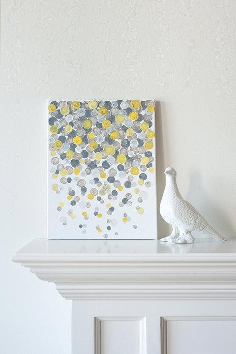 Modern Nursery Wallpaper Girl 11x14 Canvas Painting Confetti Yellow Amp Grey By Luluanddrew