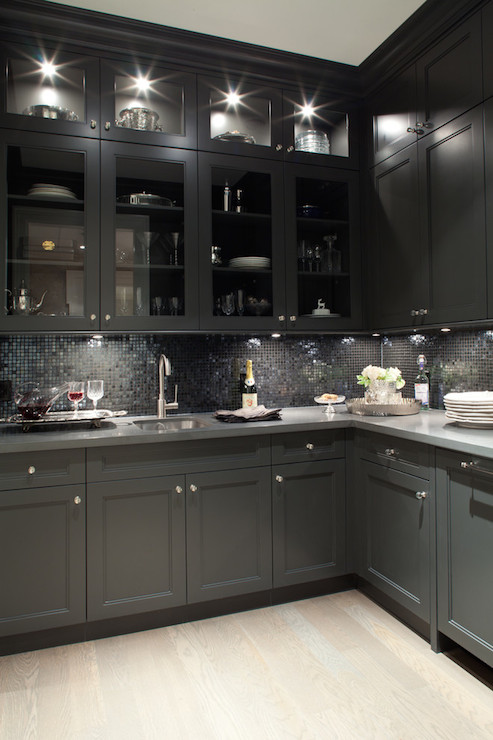 Black Cabinet With Glass Doors Butler's Pantry Cabinets - Contemporary - Kitchen - Kelly