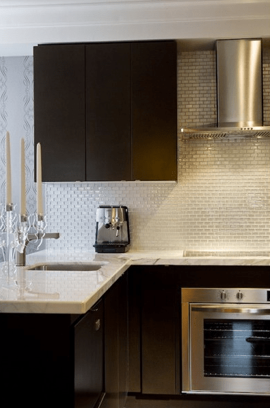 Beautiful Girl Black And White Wallpaper Espresso Kitchen Cabinets Contemporary Kitchen