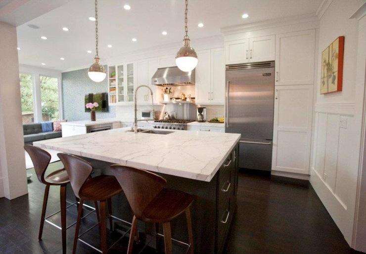 Black And White Marble Wallpaper Thomas O Brien Hicks Pendant Contemporary Kitchen