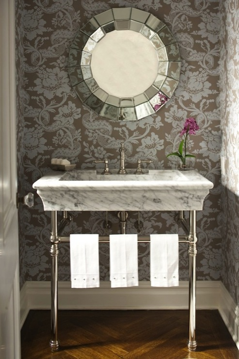 Black And Silver Floral Wallpaper 2 Leg Washstand Design Ideas