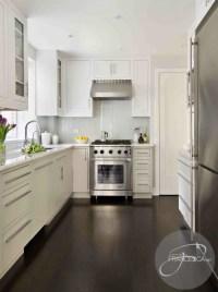 White Kitchen Cabinets Dark hardwood Floors - Contemporary ...