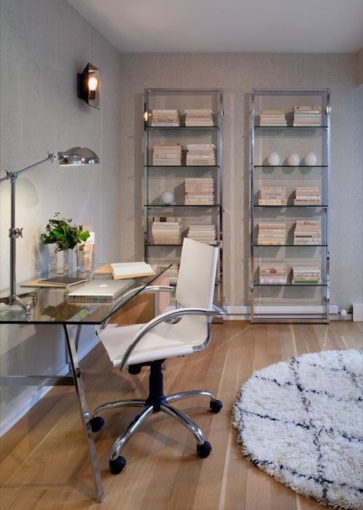 Black White And Silver Striped Wallpaper Sawhorse Desk Design Ideas