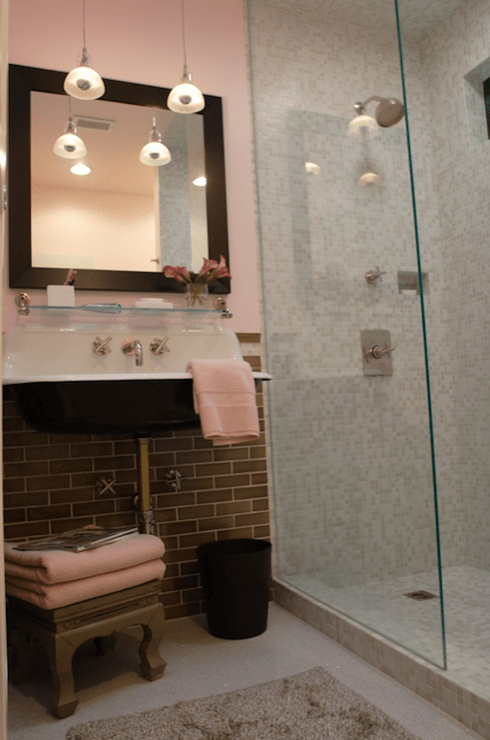 Kohler Shower Lighting Pink And Gray Bathroom - Contemporary - Bathroom