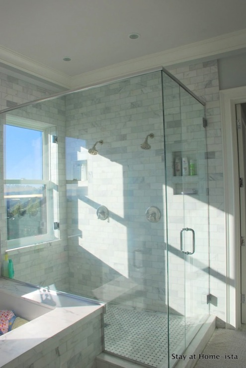 Girl Wall Decor Ideas Shower Window - Transitional - Bathroom - Stay At Homeista