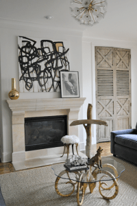 Art Above Fireplace - Transitional - living room - Sally ...