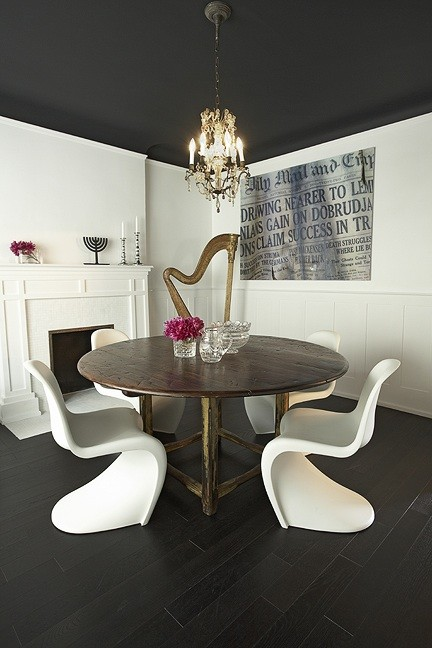 Black And White Wallpaper Living Room Panton Dining Chairs Eclectic Dining Room Palmerston