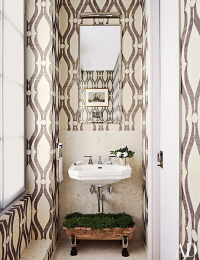 Phillip Jeffries Arches Wallpaper - Eclectic - bathroom - Architectural Digest