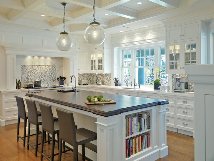 kitchens - coffered ceiling clear glass pendants white kitchen