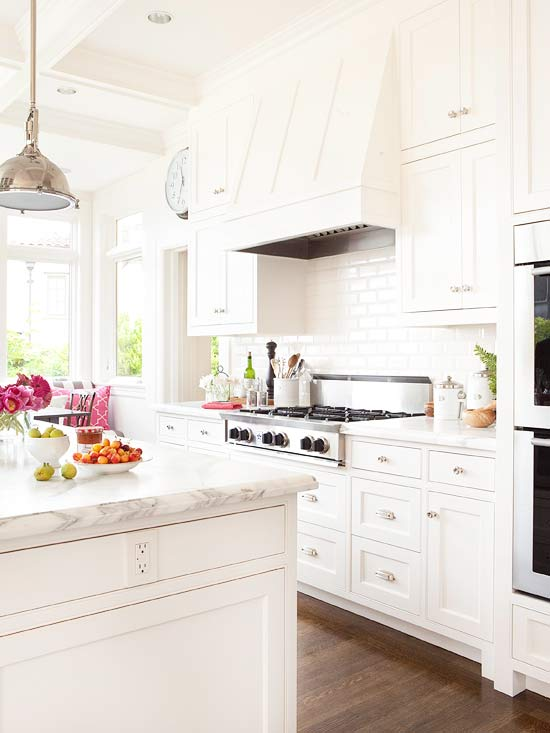 Paint Kitchen Cabinet Hardware Silver All White Kitchen - Transitional - Kitchen - Bhg
