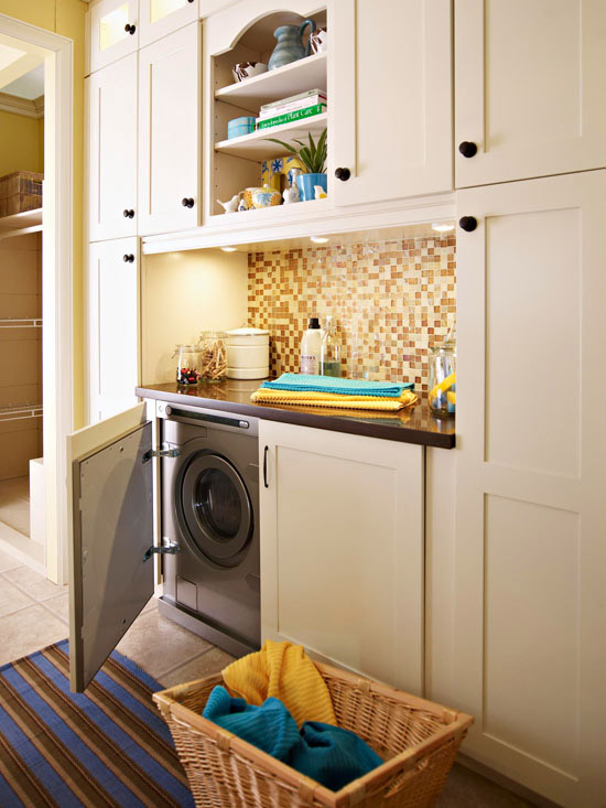 Mosaic Pendant Light Hidden Washer And Dryer Design Ideas