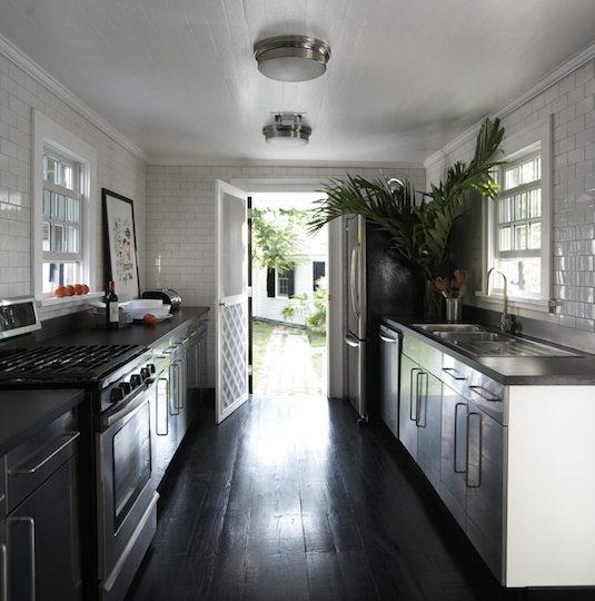 Black Beadboard Wallpaper Galley Kitchen Design Transitional Kitchen India Hicks