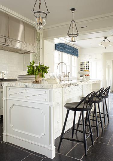 Black And White Marble Wallpaper Kitchen Island Trim Transitional Kitchen Phoebe Howard
