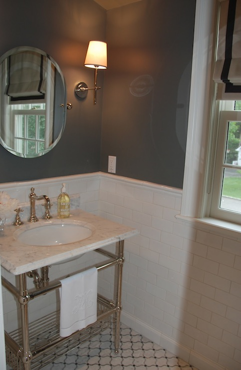 Black Silver And Pink Wallpaper Gray Walls Transitional Bathroom Benjamin Moore