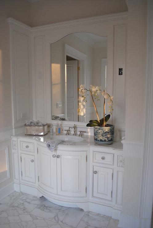 Black And White Wallpaper Decor Bow Front Bathroom Vanity Design Ideas