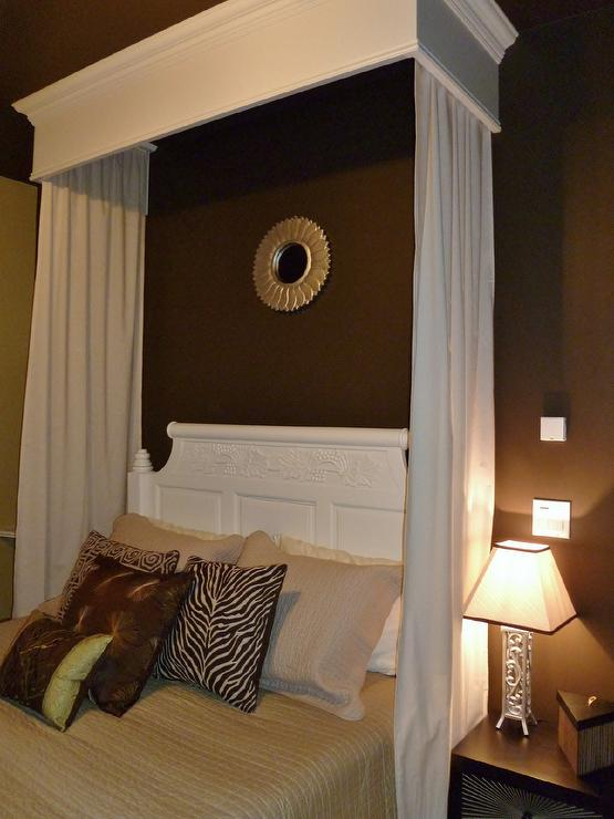Black And White Wallpaper Decor Brown Bedroom With White Canopy