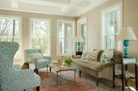 Brown and Blue living Room - Transitional - living room ...